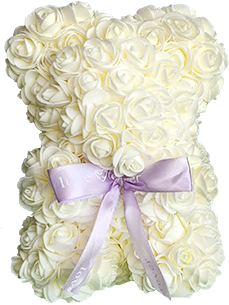 This is an image of a White Rose Valentine Bear.
