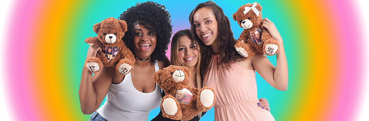 This is an image of the 3 women with 3 Cuddlebuddys bears